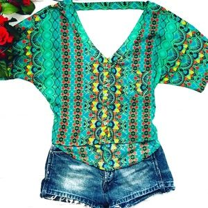 Jessica Simpson Tropical Print Top Size Small